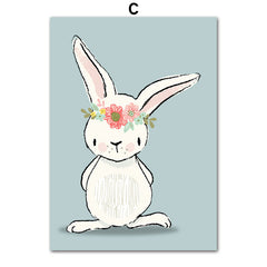 Cute Cartoon Rabbit Poster Canvas Art