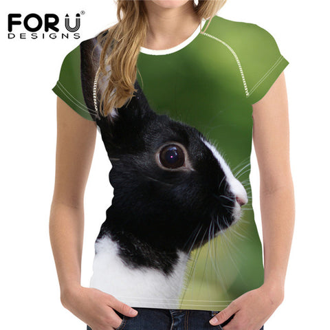 Women's 3D Bunny Rabbit Print T-Shirt