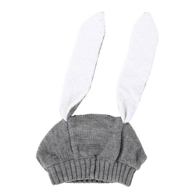 Knitted Bunny Ears Winter Beanie Caps for Babies & Toddlers