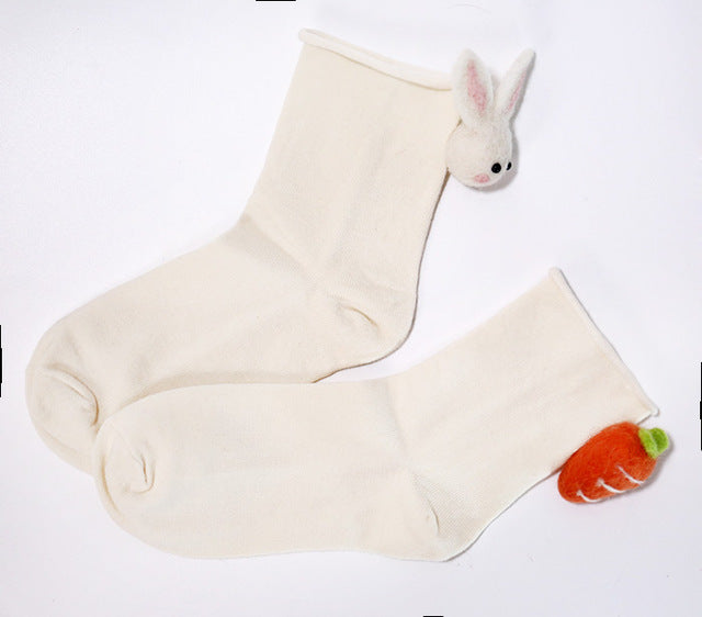 Women's Ankle Rabbit Socks with Carrot Balls