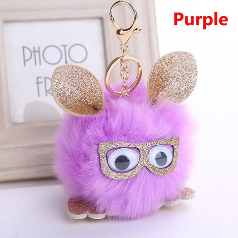 Hipster Puff Ball Bunny Keychain