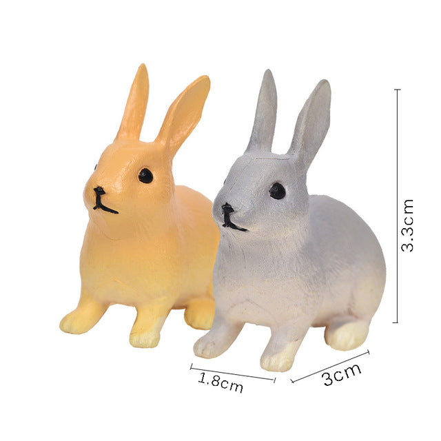 Miniature Bunny Rabbit Figurine Set - 2 PCS