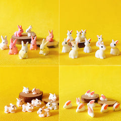 Bunny Rabbit Miniature Figurine Set