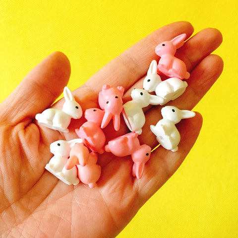10 Pieces Bunny Rabbit Miniature Figurine Set