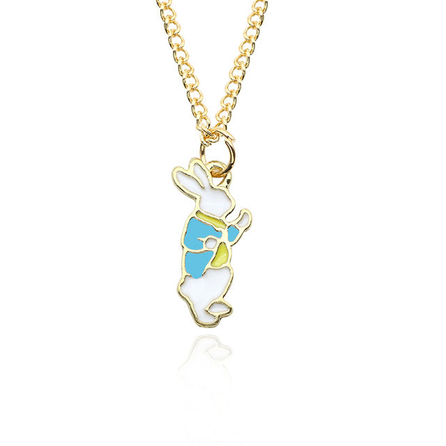 Dapper White Bunny in Colorful Coat Pendant Necklace