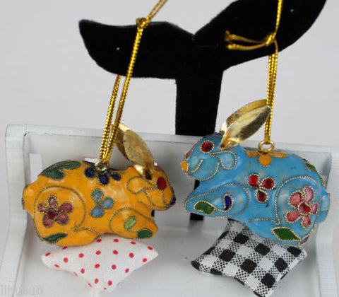 Beautiful Handmade Rabbit Cloisonne Enamel Christmas Ornaments 10 Set