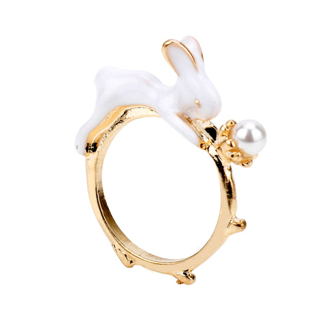 Vintage White Rabbit Ring with Pearl Stud