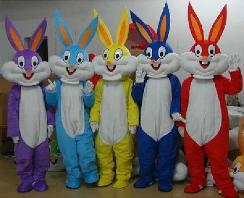 Colorful Easter Bunny Mascot Costume for Adults