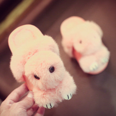 Fuzzy Winter Bunny Sandals for Kids – Three Color Variants