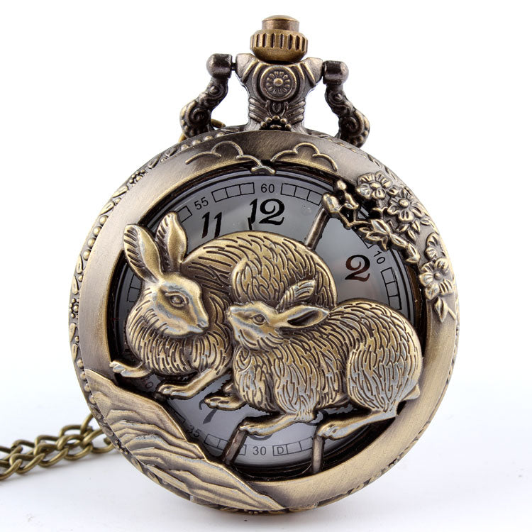 Zodiac Rabbit Pocket Watch Necklace