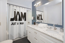 I'm JAM Shower Curtains - Black Letters on White Curtain