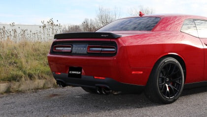 Corsa 15-19 Dodge Challenger Hellcat Dual Rear Exit Extreme Exhaust w/ 3.5in Black Tips