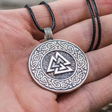 Sterling Silver Valknut Amulet with Knotwork