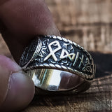 Sterling Silver Vegvisir and Rune Ring