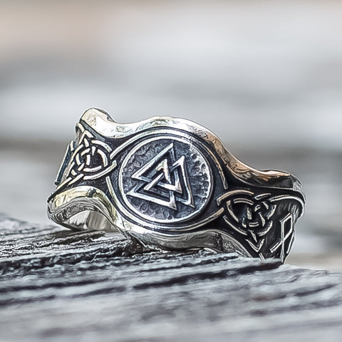 Sterling Silver Valknut Rune with Knotwork Ring