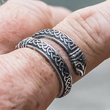 Sterling Silver Huginn and Muninn Raven Ring