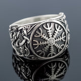 Sterling Silver Helm of Awe Mammen Axe Ring