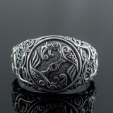 Sterling Silver Urnes Raven Ring