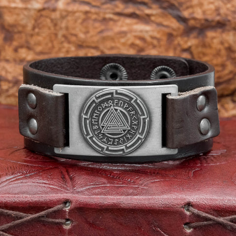 UK Viking Norse Valknut and runes brown leather cuff bracelet