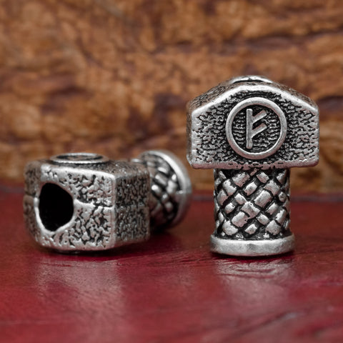 UK fehu rune thors hammer hair and beard bead