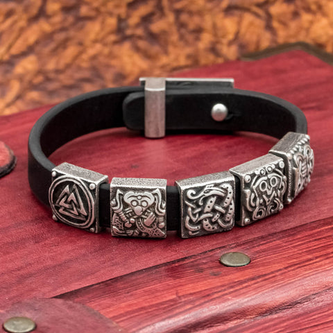 Silver Plated Charm Leather Cuff