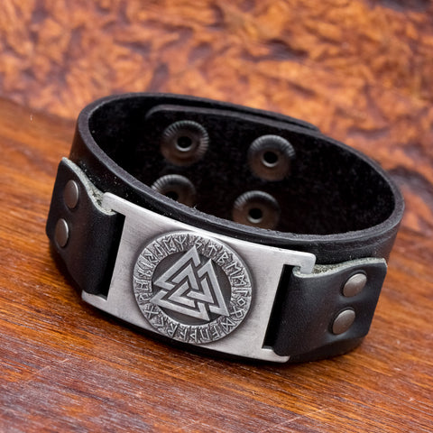black leather viking cuff valknut runes
