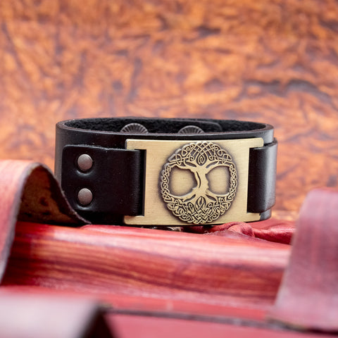 brown leather viking cuff tree of life yggdrasill