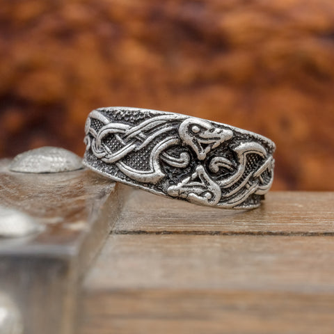 fenrir knotted wolf viking ring