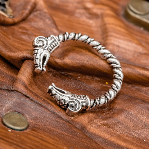 fenrir wolf head torc ring