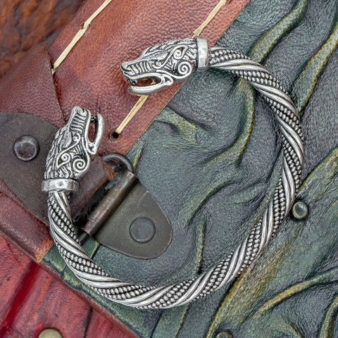 fenrir wolf small viking arm ring double twist