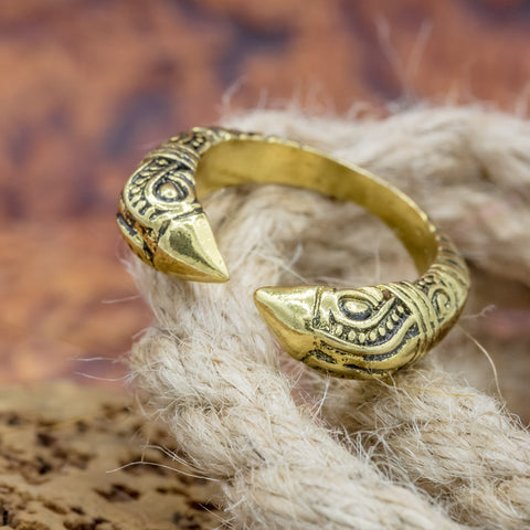 gold raven head viking ring