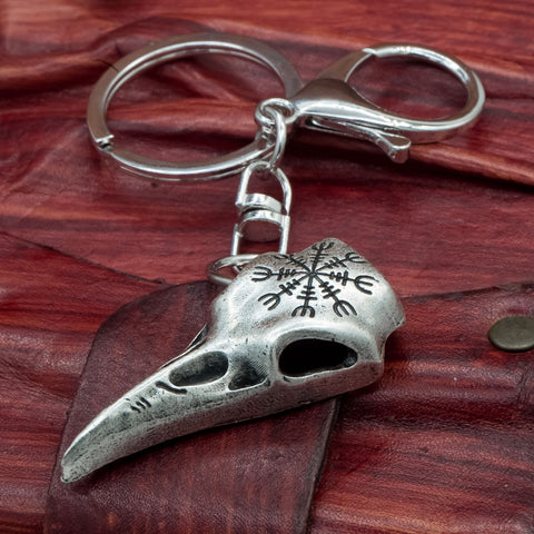 helm of awe raven skull keyring