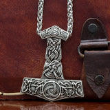 Large thors hammer pendant on chain with triquetra and viking dragon