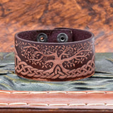 Brown Leather Cuff with Tree of Life (Yggdrasill)