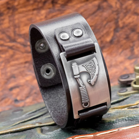 Black Leather Cuff with Axe