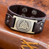 Brown Leather Cuff with Brass Valknut and Runes