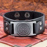 Black leather Cuff with Vegvisir and Runes