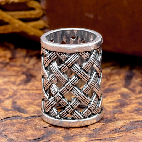 norse viking cross hatched hair beard bead