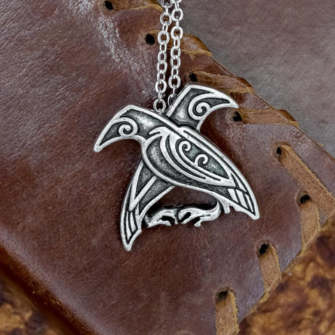 Viking Odin's Ravens (Huginn and Muninn) pendant necklace