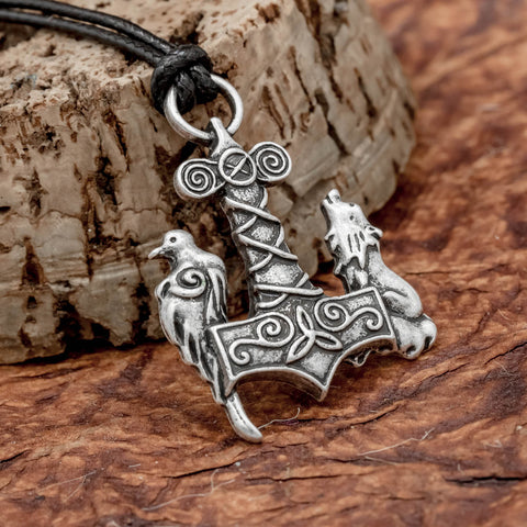 fenrir and raven on thors hammer pendant viking