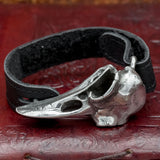 Raven Skull Pewter and Leather bracelet