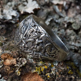 Sterling Silver Longship and Mammen Axe Ring