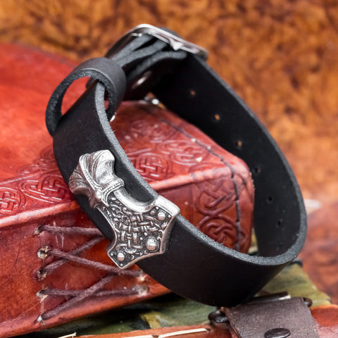 Pewter Thor's Hammer Black Leather Cuff