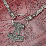 Dragon Head Asgard Kings Chain with Skane Thor's Hammer (Red)
