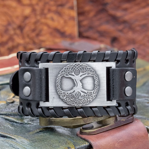 Adjustable Black Leather Cuff with Tree of Life (Yggdrasill)