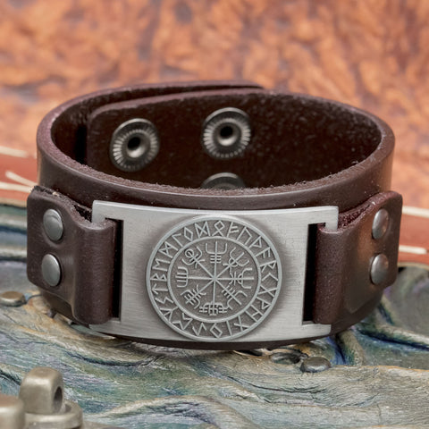 Brown leather Cuff with Vegvisir and Runes