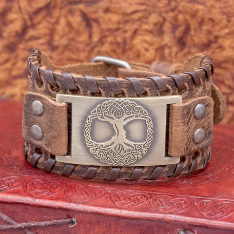 Adjustable Brown Leather Cuff with Tree of Life (Yggdrasill)
