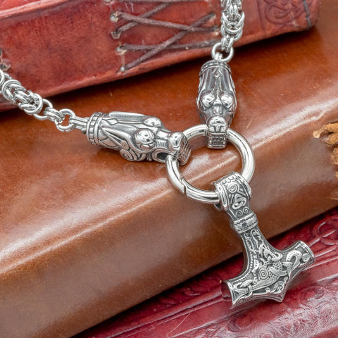Stainless Steel Thor's Hammer Wolf Kings Chain