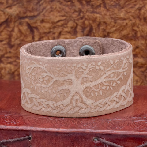 Leather Cuff with Tree of Life (Yggdrasill)