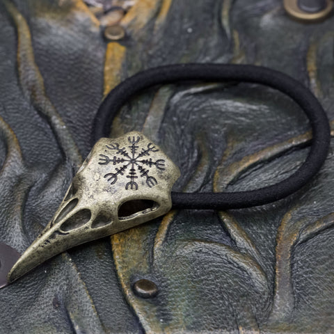 viking norse helm of awe raven skull hairband